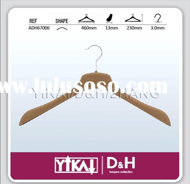 ABS Velvet Hanger with deluxe shape, no bar, brown color