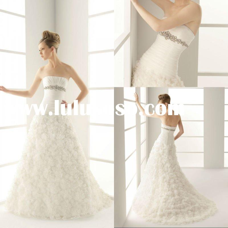 For Women Affordable Strapless Bridal Gowns Beaded A-line Bateau Pleated Beautiful Organza Wedding D
