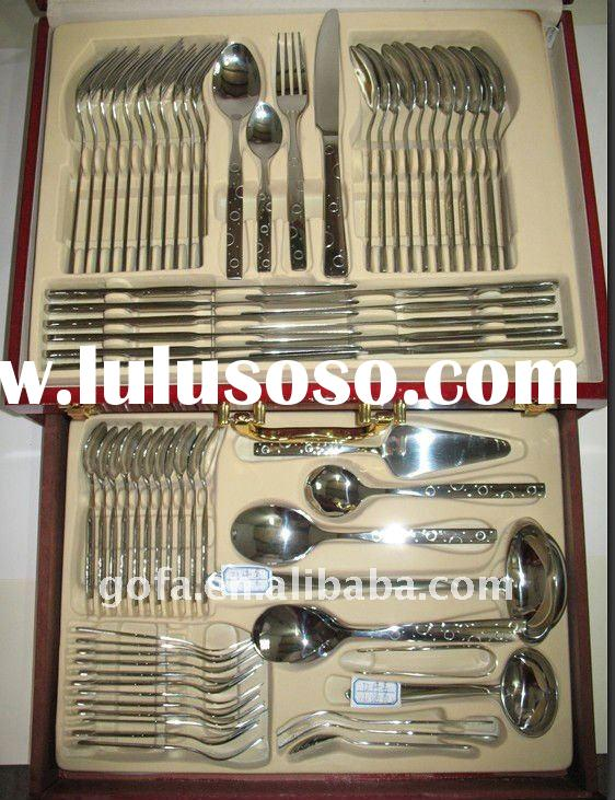 GF-QP01 72pcs high quality gold plated cutlery set