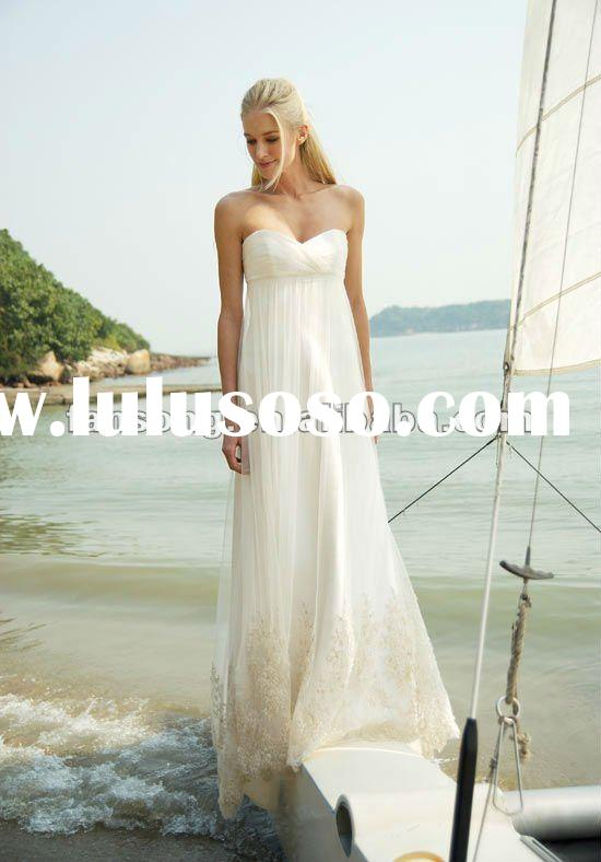Gorgeous sweetheart neckline applique tull beach casual wedding dress
