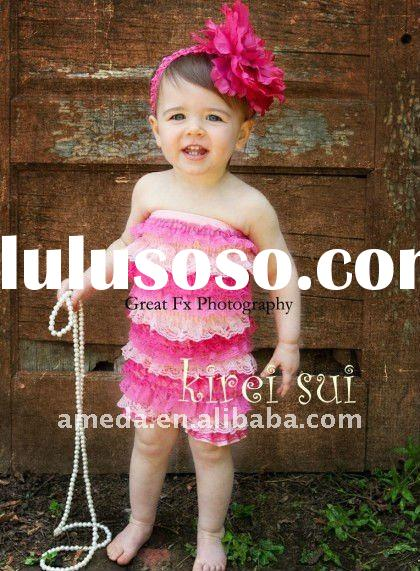 Hot Light Pink Lace Petti Rompers RX56