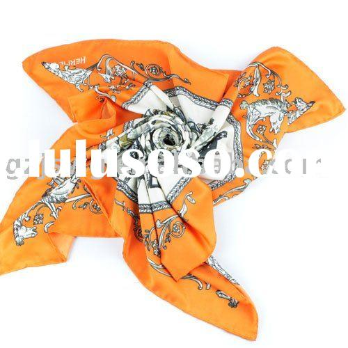 Hot Sale Brand Name Carriage Pattern Square Real Silk 2011 New Scarf floral scarf head scarf