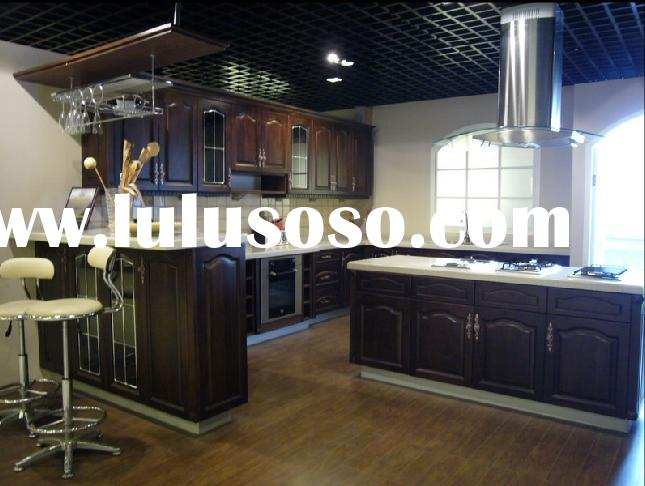 Solid cherry wooden kitchen cabinets with granite for Cherry wood kitchen cabinets price