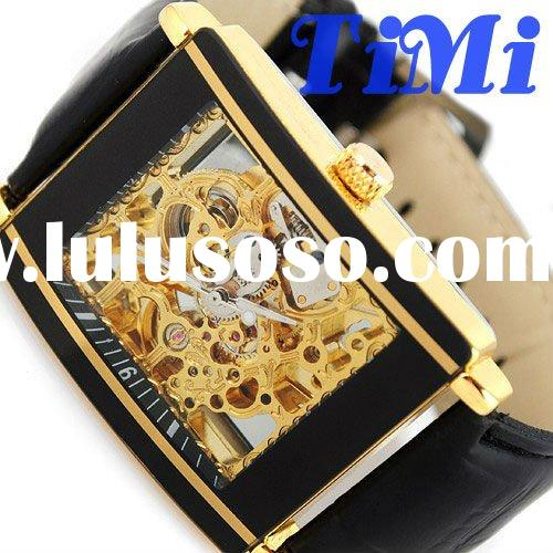 LUXURY FULL GOLDEN SQUARE CLEAR DIAL SKELETON AUTOMATIC MENS WRIST WATCH NEW