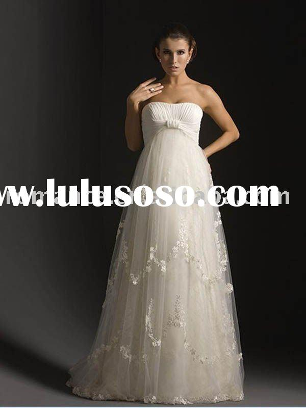 MD0001 Hot Sales High Quality Strapless Tulle Maternity Dress/ Pregnant Wedding Dress