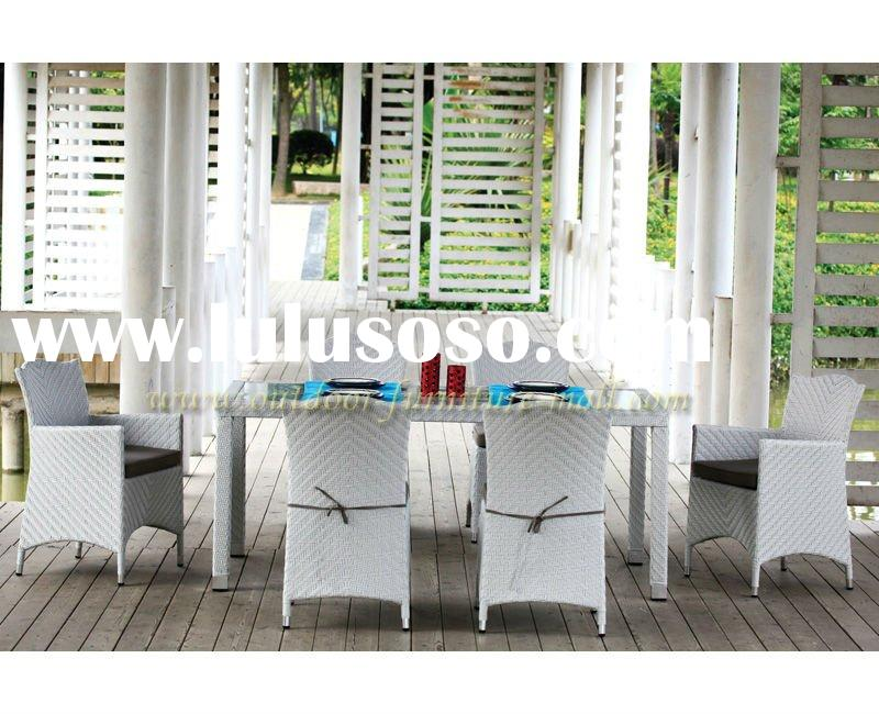 Modern design furniture PE rattan outdoor dining table (7-piece)