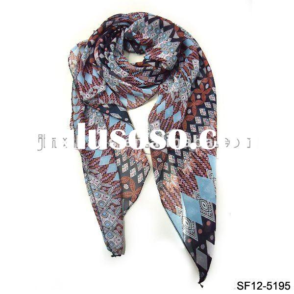 Multi Coloured Tribal printed chiffon scarf