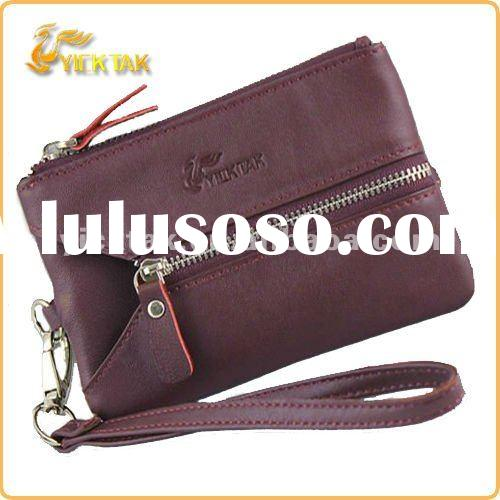 Multi coloured leather wallet with key-ring & zip