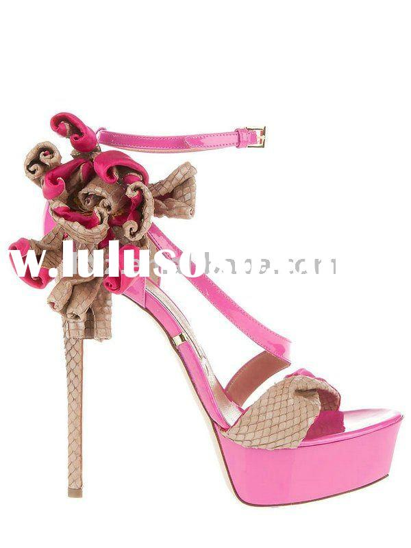 NWT Summer flower high-heeled sandals lady shoes GSL014 free shipping