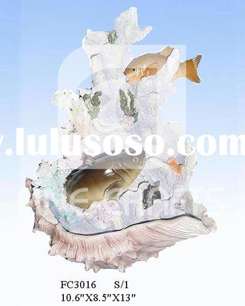 Polyresin table water fountain with fish