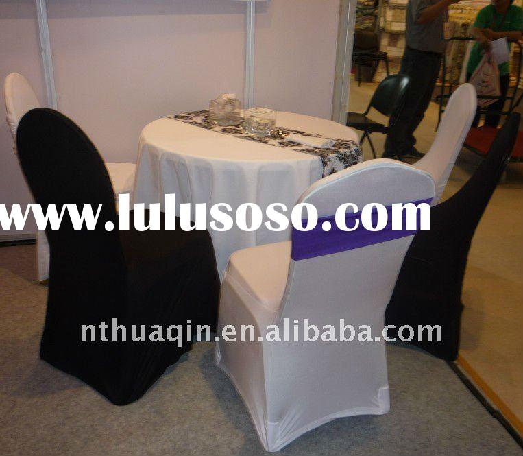 Restaurant spun polyester table cloth wedding spandex chair cover stretch seat covers
