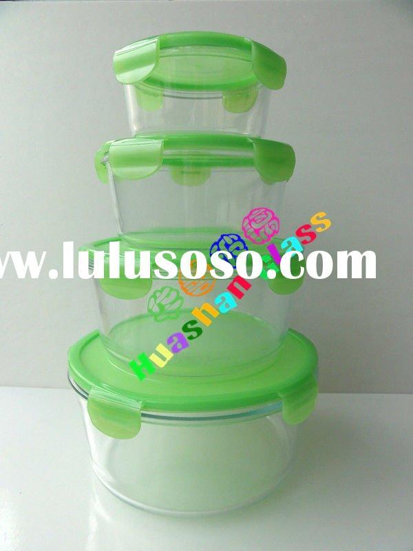Round pyrex glass food container with green color lid,leftover storage