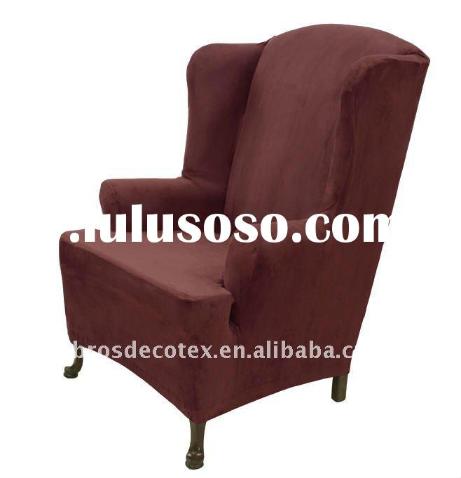 Stretch suede wing chair slipcover (wingback furniture covers with elastic bottom)