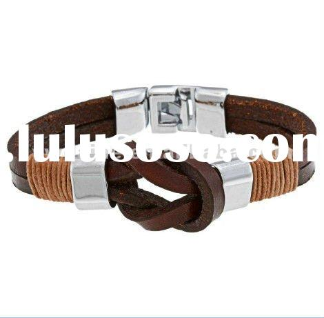 Toggle silver plated brown double row leather cord knot bracelet DH220579