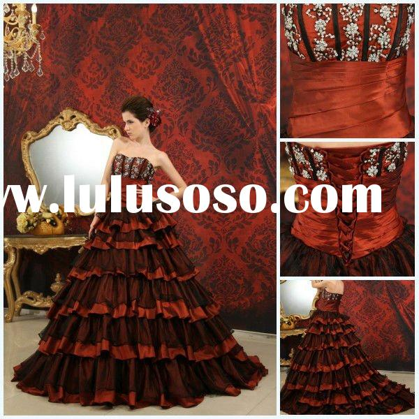 Wholesale Custom Made Sweetheart Ball Gown Court Train Beaded Appliqued Satin and Organza Black and
