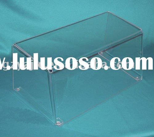 (YJ-00)Clear Acrylic Display Tray-Four-Sided Cover for Serving Trays or Food Plates with Access in t