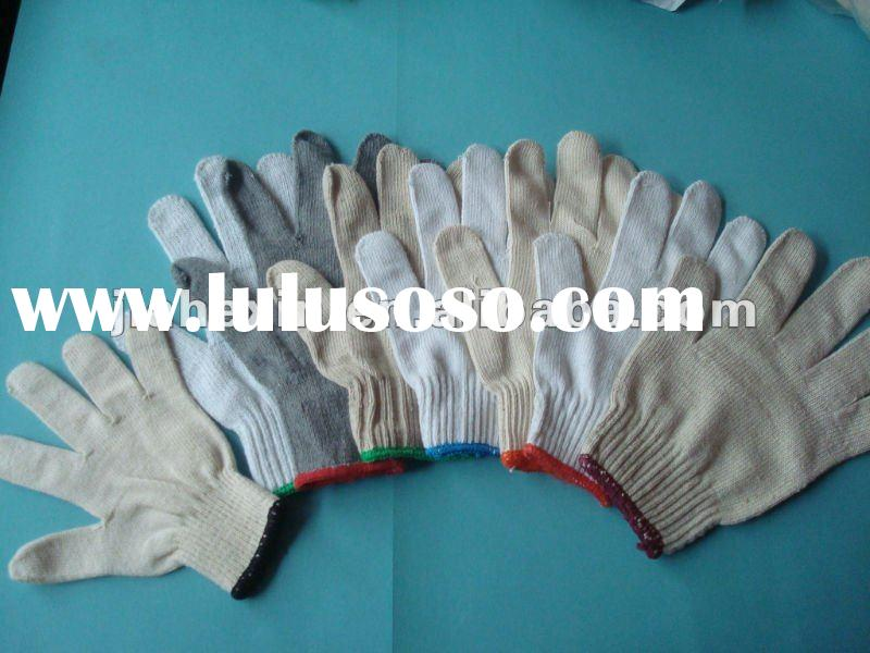 bleached white knitted cotton gloves