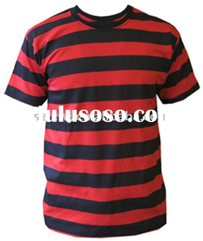 cotton stripe T- shirt for men with spandex