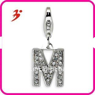 fashion cheap silver plated zinc alloy studded letter M charms pendants for DIY jewellery