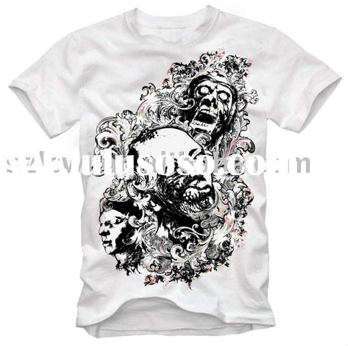 men's fashion skull printed cotton t-shirt