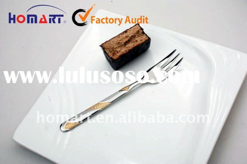 new design stainless steel gold plated cake fork
