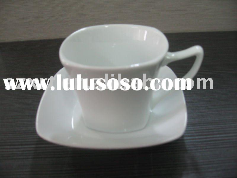 white porcelain coffee cup saucer