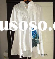 2011 hot sale high quality China handpainted 100% cotton summer dress R1193