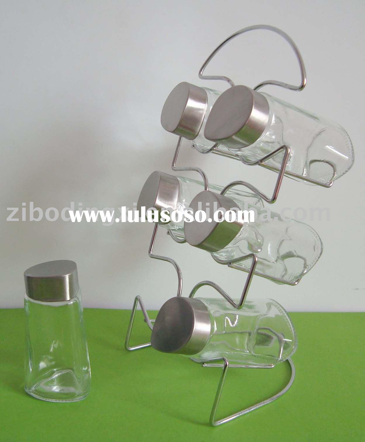 6pcs transparent glass spice jar set with metal rack