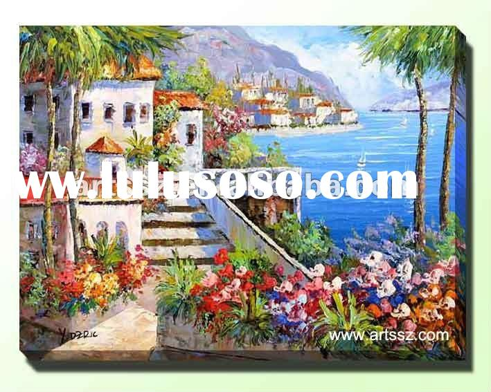 Mediterranean Seaside Building Canvas Landscape Oil Painting