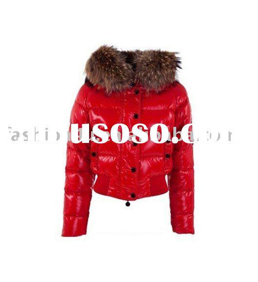 Newest Brand Name Fashion Womens Down Jackets Coats Red Winter Clothes With Fur Collar