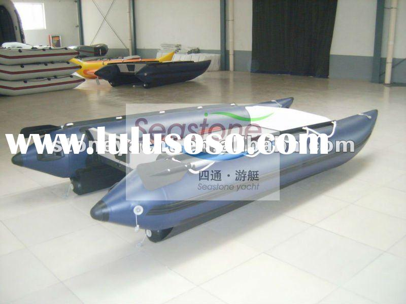 Swift 50HP PVC fabric high speed catamaran inflatable rowing boat 6 people/speed cat boat