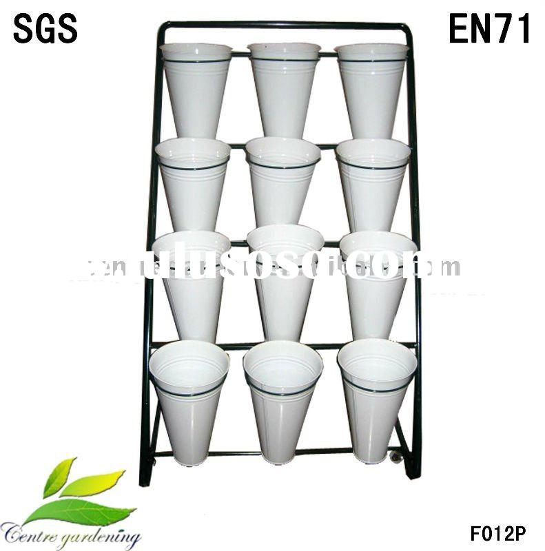 metal flower pot stand with 12 pots