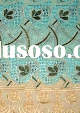 swiss voile lace (L90295-Beige +sea blue+army green)