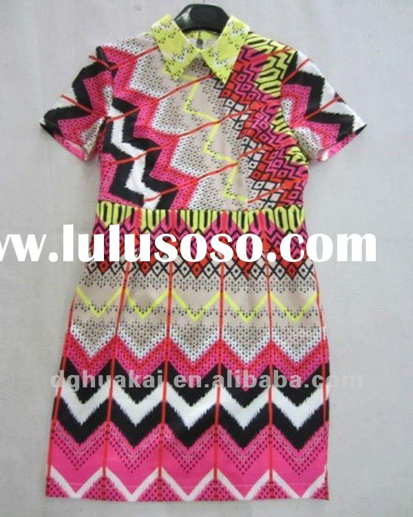women fashion dresses modern printed silk dress clothing factory HK -040712