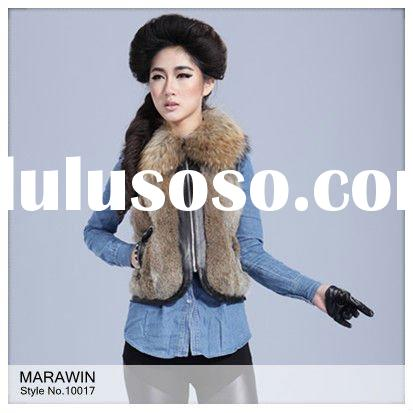 10017 Rabbit fur ladies winter vest with raccoon dog collar and sheep leather trim
