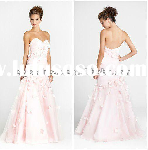2011 Newly Arriving 2012 Custom Made Classic A-line Taffeta Tulle Strapless Sweetheart Gown Pink Pro