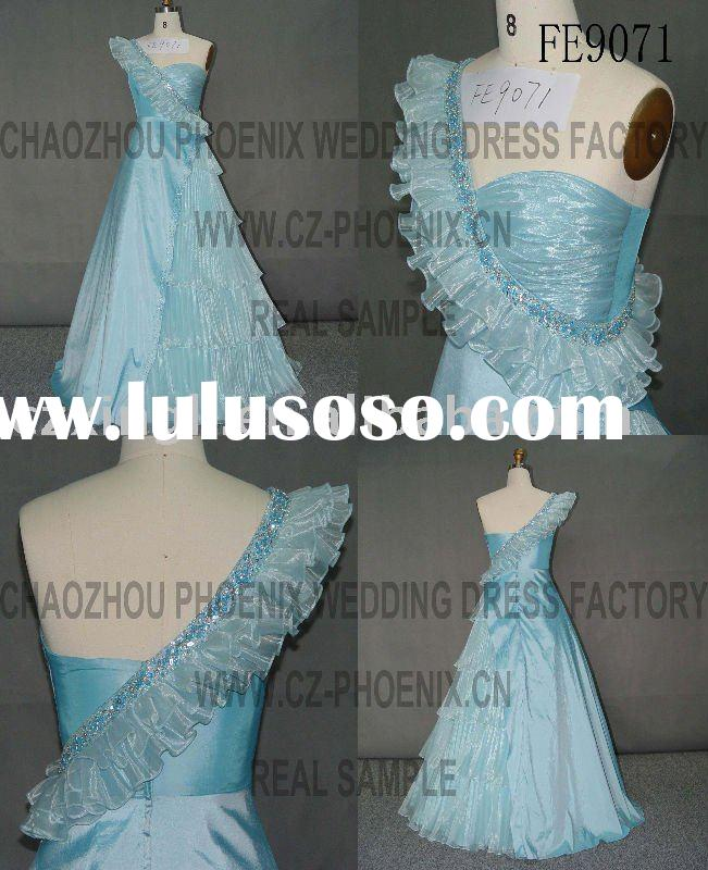 2012 A-Line Floor Length One-shoulder Taffeta collection prom dress FE9071