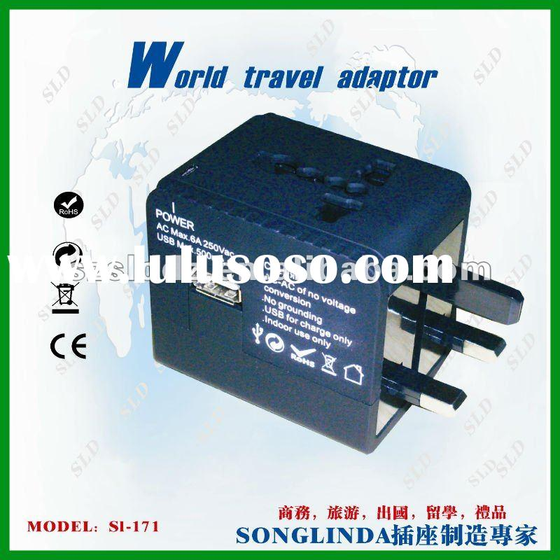 2012 New fashion worldwide travel addapter plug with USB power charger