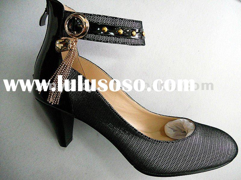 2012 latest design Spring lovely genuine leather shoes woman high heel