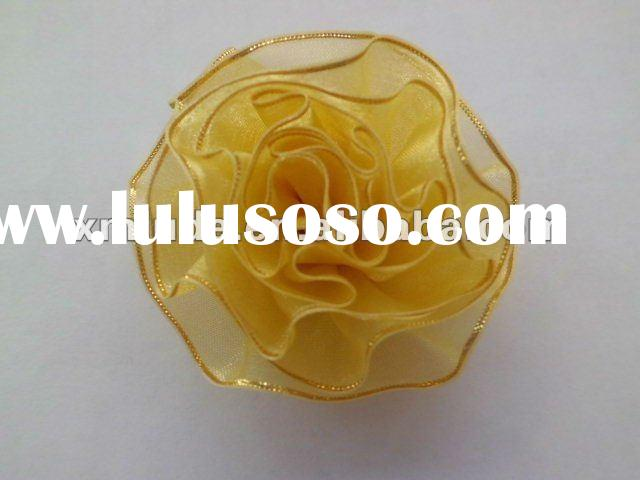 2012 polyester golden edged organza ribbon carnation