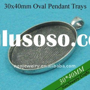 30x40mm Antique Silver Plated Blank Pendant Trays, Pendant Blanks, Pendant Bases, Pendant Bezel Sett