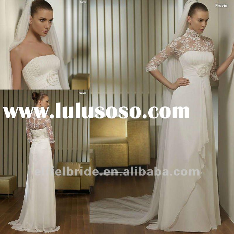 3419 Customized Cheap Empire waist White/Ivory Chiffon Bridal Wedding Dresses/Gowns With Long Sleeve
