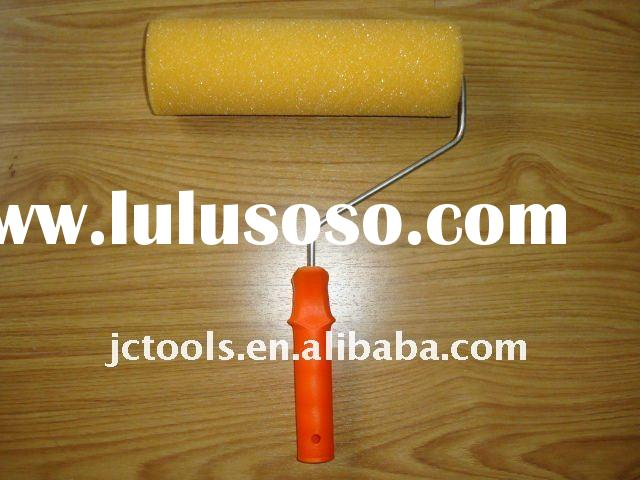 """7"""" yellow spong paint Roller Cover brush with plastic handle"""