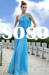Best service ball dress designer dress blue long one shoulder ruffle beaded A-line silk wholesale pr