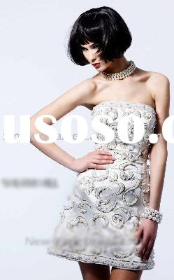 CH068 Free shipping strapless floral pattern fully beaded chrismas dress