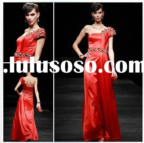 Chinese style hot red one-shoulder beaded A-line wedding&bridal&evening dress