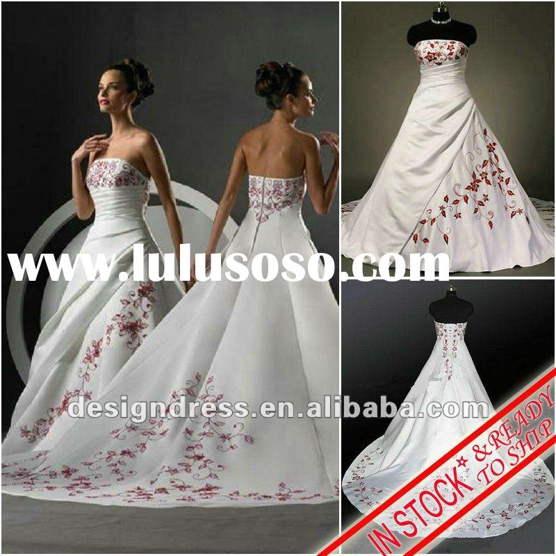 Classic style in stock A-line strapless red embroidery satin plus size bridal wedding dress with lon