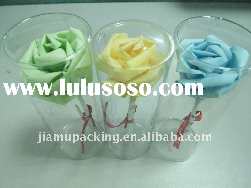 Clear plastic PVC cylinder packaging for flower