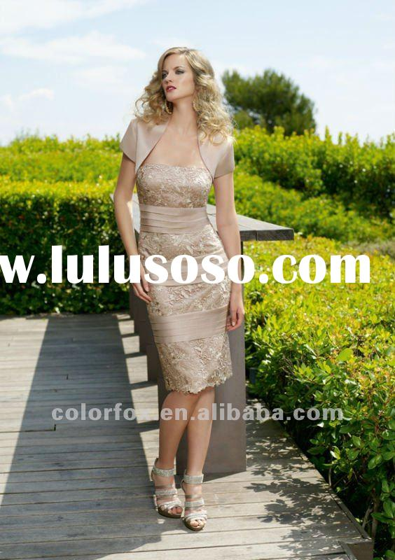 Elegant Champagne Satin & Lace Knee Length Evening Suit