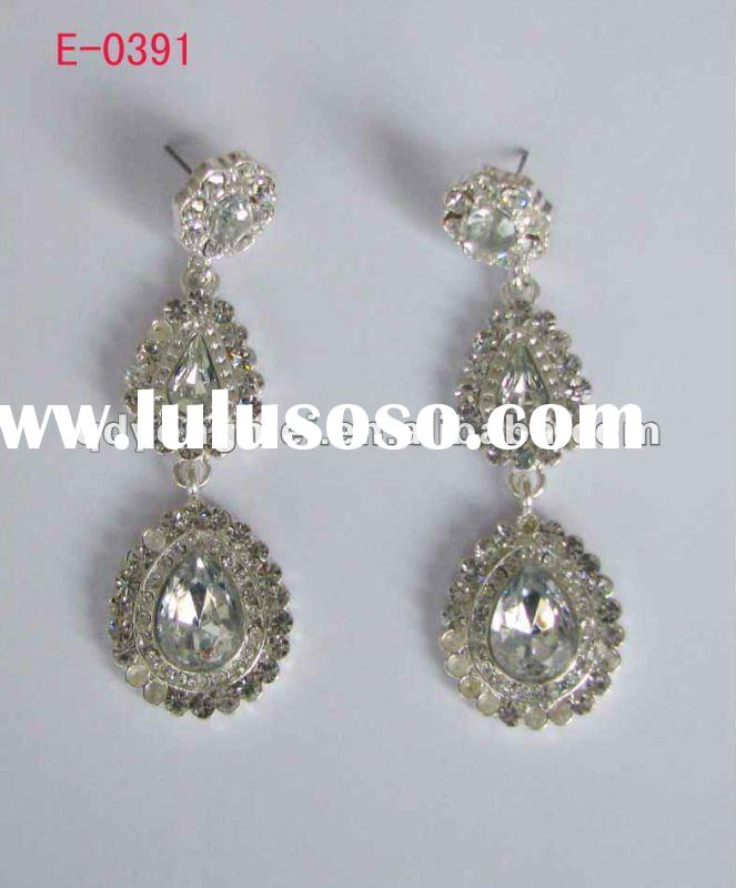 Elegant design popular silver plating alloy glass crystal stone fashion wedding bridal earrings